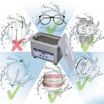 Nettoyeur à Ultrasons avec Affichage Numérique pour Nettoyer des Bijoux et des Lunettes – 220-240V/60HZ 35W 0.8L acier inoxydable