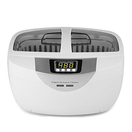 2,5L Nettoyeur à Ultrasons, YOKKAO Ultrasonic Cleaner Professionel avec minuteur et fonction chauffage pour la nettoyage de dentiers, bijoux, lunettes, couverts de table, couleur blanc