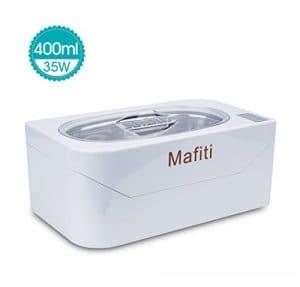 Mafiti Nettoyeur à ultrasons 400ml (13oz) petit et ménager et spécialisé à laver lunettes, bague, dents artificielles, collier, montre,et pièces de monnaie mini portable