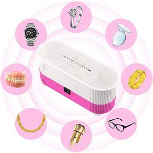 Nettoyeur à ultrasons, Myriann Mini machine de nettoyage Réservoir de 300ml pour bijoux Lunettes en forme de montres Business Commercial l'utilisation à domicile, transparent